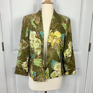 Peck & Peck 12Petite Batik Green Silk Blazer